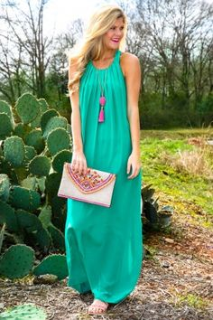 EVERLY: Defining Moments Maxi Dress-Emerald
