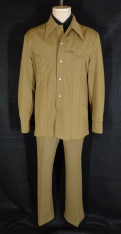 Rare Vintage 70's Lee Brown 2 Piece Western Rockabilly Cowboy Leisure Suit - L #Lee #Doyoureallyneedone