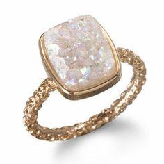 OH my gosh. Beautiful Druzy Quartz Ring by Dara Ettinger