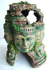 Resin Buddha Head Rock Statue Cave Fish Tank Aquarium Ornament Decor