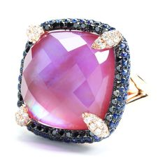 Rina Limor - 18k ring and amethyst gemstone with black and white dias and sapphires