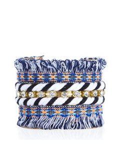 Bracelet manchette bleu frangé à rayures | New Look