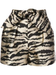 Black and gold Davina pleated shorts from Cynthia Rowley featuring a zebra print, a metallic sheen, a high waist and pleated details. Bermudas Shorts, Pleated Shorts, Patterned Shorts, Boho Shorts, Tie Dye Jeans, Cynthia Rowley, Jil Sander, J Brand, Adidas Originals
