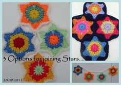 flower in a star crochet pattern - love them sewn together as a bunting