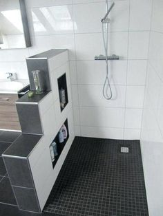 Mosaic Wall Tiles, Shower Remodel, Restroom Remodel, Walk In Shower, Bathroom Organization, Bathroom Storage, Small Bathroom, Bathroom Ideas, Shower Bathroom