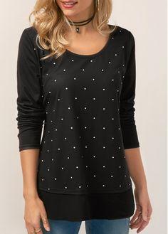 Long Sleeve Polka Dot Print T Shirt on sale only US$29.22 now, buy cheap Long Sleeve Polka Dot Print T Shirt at liligal.com