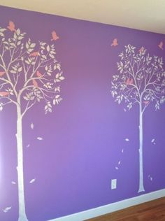 Playroom, Nursery, Kid's Room... What are some fun places you could think of to add this Large Tree & Birds Stencil?    Love it? Paint it! http://www.cuttingedgestencils.com/tree-stencil.html      #cuttingedgestencils #stenciling #stencilpatterns #stencils
