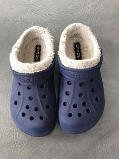 842b16247 Crocs Classic Clogs Kids Size 12-13 C Blue Rubber Slip On Fur Lined Shoes
