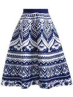 High Waisted Blue and White Porcelain Print Skirt - BLUE/WHITE ONE SIZE