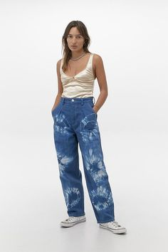 Shop BDG Erin Tie-Dye Cocoon Jeans at Urban Outfitters today. Custom Clothes, Diy Clothes, Clothes For Women, Diy Tie Dye Jeans, Bleached Jeans, How To Make Clothes, Making Clothes, Urban Outfitters Jeans, Patterned Jeans