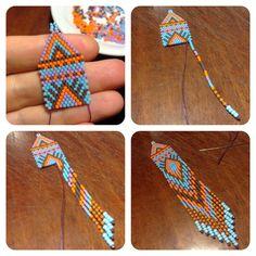 Плетение серег из бисера мозаикой