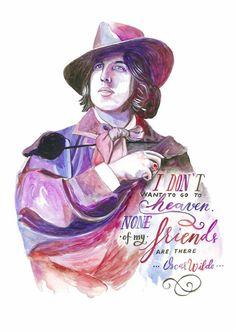 OSCAR WILDE art print  FRIENDS quote  Fan art  by SesCaniques