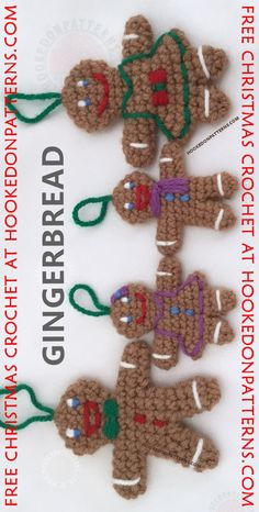 Gingerbread Man and Gingerbread Lady FREE crochet patterns - Looking for Christmas decorations? We've got just the ticket! Take a ride over to Hooked On Patterns for this Free Gingerbread Family crochet pattern.