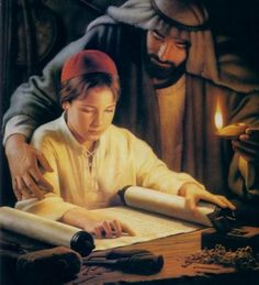Growing in Wisdom by Simon Dewey ~ Jesus as young boy studying the Torah with his earthly father, Joseph One earthly father, one heavenly Father and that is all. Images Du Christ, Pictures Of Christ, Religious Pictures, Bible Pictures, Lds Art, Bible Art, Christian Images, Christian Art, Simon Dewey