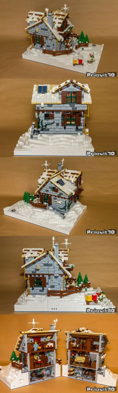Winter Village Mountain Lodge - New Ideas Lego Christmas Sets, Lego Christmas Village, Lego Winter Village, Lego Club, Lego Design, Lego Boards, Lego Construction, Lego For Kids, Cool Lego Creations
