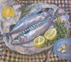 Two smart mackerel . pastel . Felicity House www.felicityhouse.eu