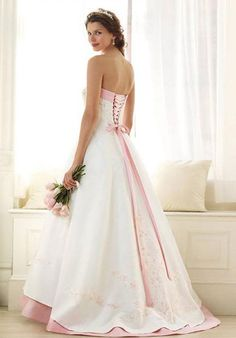 White And Pink Wedding Dress 1024 X 1467 Disclaimer : We do not own any of these pictures/graphics. All the images are not Pink Wedding Dresses, Wedding Dress Sleeves, Cheap Wedding Dress, One Shoulder Wedding Dress, Pink And White Weddings, Pink Weddings, Romantic Weddings, Up Girl, Wedding Attire