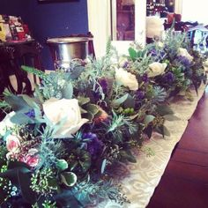 table runner of flowers