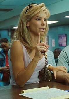Sandra Bullock. In The Blind Side took my breath away. Why does she not have Blonde hair all the time?!