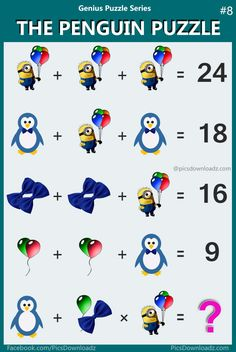 The Penguin & Minions Math Puzzle - Most Viral Puzzle Image, Confusing Brainteasers Math Puzzles. Math Puzzle for students, teachers. Trending Genius Math Puzzle Image on internet. Math Logic Puzzles, Math Quizzes, Brain Teaser Puzzles, Math Games, Math For Kids, Puzzles For Kids, Fun Math, Iq Puzzle, Brain Teasers With Answers