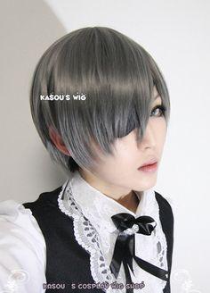 [Kasou Wig] Black Butler / Kuroshitsuji Ciel Phantomhive short straight smooth gray cosplay wig with bangs.