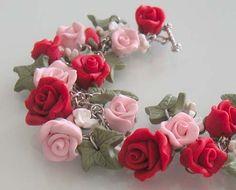 Bridal Rose Garden Charm Bracelet  Polymer Clay by beadscraftz, $125.00