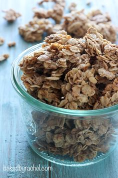 Easy homemade granola, flavored with cinnamon and pure maple syrup. A tasty breakfast or snack! ...