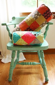 Patchwork bolster pillow @Anna Graham I want to paint one of my old chairs this color.