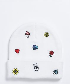 Add some good vibes to your noggin with the A-Lab Ellison Motif Embroidered white beanie. This all-white beanie comes with a fold over cuff for a classic silhouette, while the mixture of sewn-on patches ranging from peace signs to flowers adds some positivity too. White Beanies, Things To Buy, Stuff To Buy, Lab, Patches, Hair Accessories, Embroidery, Knitting, Classic