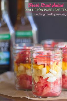 On the Go Fresh Fruit Salad and Lipton Pure Life Tea on This Gal Cooks #healthysnacking #fruit #recipes