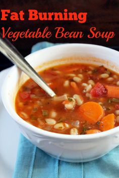 Fat Burning Vegetable Bean Soup - northern white beans, vegetable/chicken broth, red salsa, carrots, celery, Italian parsley, creole seasoning, black pepper, garlic powder, onion powder Healthy Soup, Healthy Recipes, Cooking Recipes, Delicious Recipes, Creole Seasoning, Fat Burning Foods, Cabbage Fat Burning Soup, Petits Plats, Veggie Soup