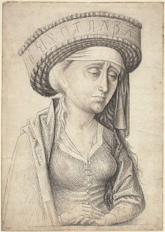 A Sibyl, c. Pen and black and gray ink with gray wash on laid paper, Woodner Collection, Gift of Andrea Woodner, Medieval Hats, Medieval Fashion, Renaissance, 15th Century Clothing, Irish Clothing, Silly Hats, Landsknecht, Late Middle Ages, National Gallery Of Art