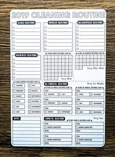 Daily, Weekly Routines, Zone Cleaning Checklist / Flylady's Control Journal / x 11 planner Inser Bullet Journal Routine, Bullet Journal Digital, Bullet Journal Ideas Pages, Bullet Journal Inspiration, Bullet Journal Cleaning Schedule, Bullet Journal Printables, To Do Planner, Planner Pages, Happy Planner