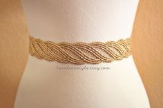 Gold  Metallic Lace with Champagne Satin Sash  by lovelikestyle, $25.00
