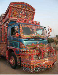Truck art from Pakistan Truck Art Pakistan, Bus Art, Truck Paint, Graffiti Murals, Yarn Bombing, Car Images, Indigenous Art, Car Painting, My Ride