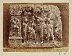 Pakistan (In the collection of Lahore Museum, photographed)  Descriptive line  Photograph depicting a relief of the birth of Buddha, Greco Buddhist (Gandhara School). India, ca. 1st to 2nd century A.D.
