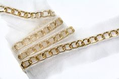 2 YARDS of Gold Chains Links Trim 0.4 '' for Crafts, Sewing , Accessories and Jewelry