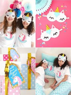 Unicorn birthday slumber party ideas with lots of amazing DIY decorations, party printables, desserts and food, crafts and party favor ideas for a birthday or slumber party celebration!