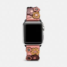 Coach Apple Watch® Tea Rose Applique Leather Strap ($175) ❤ liked on Polyvore featuring jewelry, watches, melon, rose watches, coach wrist watch, leather jewelry, rose jewelry and coach watches
