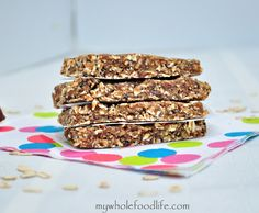 Almond Butter Protein Bars.  Recipe + a video on how to make them.  So easy and way better than store bought!  Vegan and gluten free.  #proteinbars #recipe #vegan #glutenfree