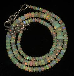 """40 TCW 1 Necklace 2 to 6 mm 15"""" Beads Genuine Ethiopian Welo Fire Opal 9139 #opalinmind"""