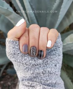 Love this fall mani.  Sets used are Berlin It To Win It, Plaid About You (clear nail art overlay), Midnight In Manhattan with Tiny + Shiny on top, and Swiss and Tell.   Fancy Nails, Love Nails, Pink Nails, How To Do Nails, Pretty Nails, My Nails, Nail Color Combos, Nail Colors, Plaid Nails