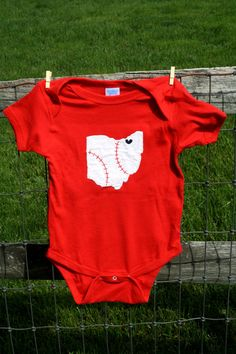 Cleveland Indians, Tribe Love, State of Ohio bodysuit with BASEBALL stitches and heart on cleveland, new fathers day gift