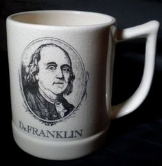 "Vtg Dr Ben Franklin Portrait Quote Coffee Mug Cup ""Where Liberty Dwells..."" USA #Unbranded"