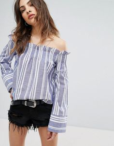 Buy it now. Nobody's Child Off The Shoulder Top In Stripe - Blue. Top by Nobody's Child, Lightweight cotton, Stretch Bardot neck, Off-shoulder design, Striped print, Loose fit - falls loosely over the body, Machine wash, 100% Cotton, Our model wears a UK 8/EU 36/US 4. Refresh your wardrobe with casj-cool essentials by London brand Nobody's Child. Think tomboy meets girly-girl, as seasonal styles � including crop tops, jumpsuits and day dresses - are revamped in punchy prints and new…