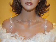 Sexy White Bow Shape Rhinestones Bra Straps Item  1033 by Giovonna