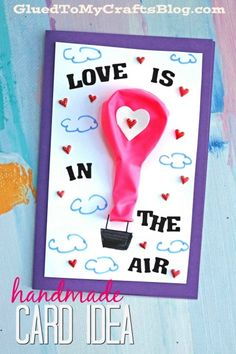Check out our Mixed Media Hot Air Balloon Card, DIY Idea post! It's a handmade card AND a party favor, all in one! Valentines For Kids, Valentine Day Crafts, Diy Paper, Paper Crafts, Diy Crafts, Birthday Diy, Birthday Cards, Air Balloon, Balloons