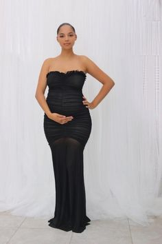 This Gown is soft stretch all over and sheer at the bottomAvailable in White and BlackFabric: Polyester SpandexModel is wearing a smallSize GuideSmall - Dress Sizes - Dress Sizes Dress Dress Sizes Fitted Maternity Dress, Maternity Gowns, Maternity Fashion, Stylish Maternity, Pregnancy Outfits, Pregnancy Goals, Baby Outfits, Dolly Dress, Military Ball Dresses