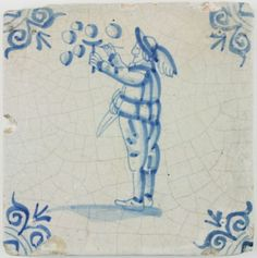 Antique Dutch Delft tile with a boy blowing bubbles, 17th century