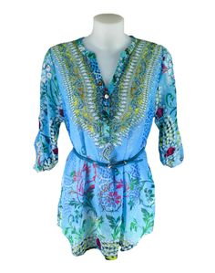 OPL Paisley Print Summer Tunic Top. A holiday must-have! Wear to the beach, pool or dressed up on special occasions.